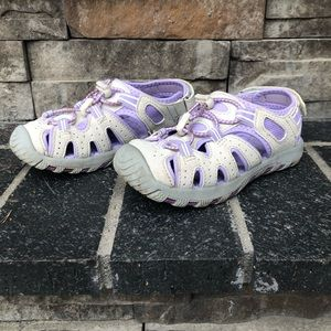 Khombu Girls Gray and Purple Sandals, size 13